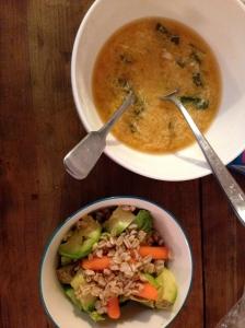 Miso Soup w/ Gochujang (Spicy Korean Chili Paste) & An Egg, A Grain/Veg Salad of my own creation chez moi